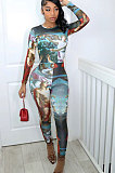 Positioning Printing Long Sleeve Round Neck Bodycon Jumpsuits BLK1209