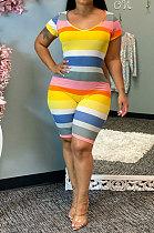 Fashion Stripe Printing Bare Back Tight Round Neck Bodycon Jumpsuits AA5223
