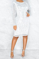 Fashion Round Neck Long Sleeve Package Buttocks Hot Drilling  Mini Dress CCY8885