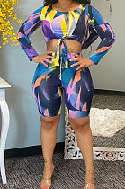 Fashion Digital Printing Lace-up Chest Wrap Two-Piece  AA5224