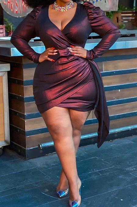 Sexy V Neck Big Szie Pure Color Bright Cloth Plus Mini Robe CCY1427
