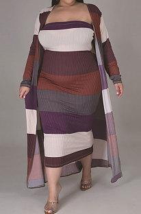 ファッションストライプビッグサイズベストスカートコートロングコートツーピースCCY1416