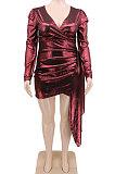 Sexy V Neck Big Szie Pure Color Bright Cloth Plus Mini Dress CCY1427