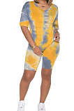 Trendy Ladies Tie-Dye Sets V Collar Summer T-Shirt Casual Shorts SN3763