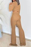 Col rond de couleur pureCultivate One's Morality Coat Pantalon décontracté en corne deux pièces CCY8880