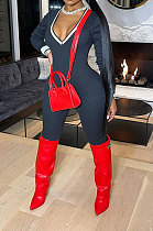 Sexy Pure Color Spliced Thread Zipper V Neck  Bodycon Jumpsuits CCY8871