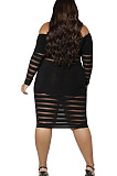 Pure Color Hip Joining Togther Stripe One Word led Sexy Dresses CCY1408