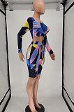 ファッションデジタル印刷レースアップチェストラップツーピースAA5224