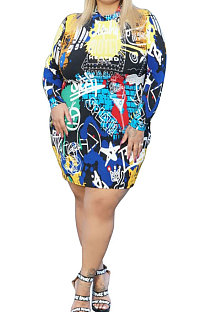 Fashion Graffiti Printing Package Buttocks A Word  Plus Mini Dress CCY1425