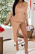Sexy Bead Piece Zipper V Neck Open Fork Dress K8932