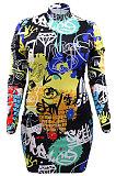 Fashion Graffiti Printing Package Buttocks A Word  Plus Mini Dress CCY1425