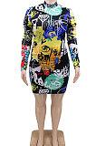 Paquet d'impression de graffiti de mode fesses un mot plus mini robe CCY1425