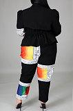 ファッションスプライスプリントビッグサイズジョーカーカーディガンコートツーピースCCY1437