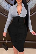 Сексуальные соединяющиеся вместе молнии с длинными рукавами складываются для развития нравственности платья K3023