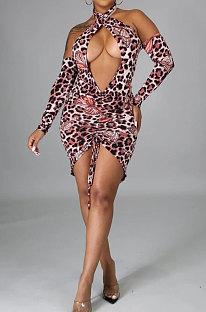 Leopard Sexy Dew Shoulder Bandage Club Mini Dress WMZ2594