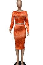 Sexy Womenswear Long Sleeve Round Neck Fashion Casual Printing Tie Dye Skirts Sets WMZ2600