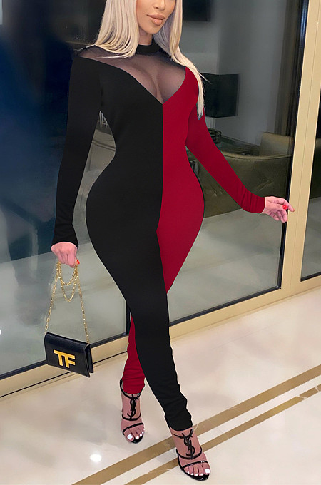 Sexy Zipper Perspective Joining Together Night Culb Jumpsuits K258