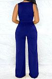 VネックベストニットピュアカラーファッションカジュアルパンツセットWMZ2599