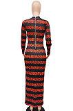 Printing Zipper Long Sleeve Round Neck Reversible Long Dress WMZ2580