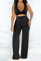 V Neck Vest Knit Pure Color Fashion Casual Pants Sets WMZ2599