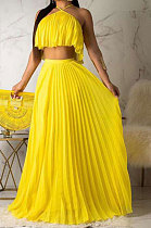Fashion Crimping High Temperature Setting Two Layers Cloth Pure Color Skirts Sets D68284