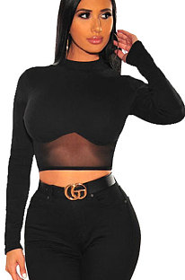Spliced Net Yarn Sexy Round Neck Long Sleeve Womenswear Crop Tops WMZ2585