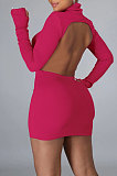 Pure Color Sexy Backless Knitting Package Buttocks Club Mini Dress WMZ2598