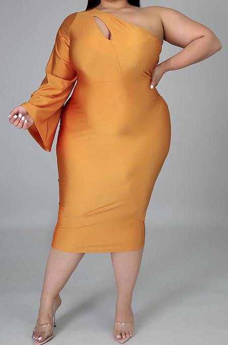 Épaule inclinée à manches longues et courtes cultiver la moralité des robes de liaison K2036