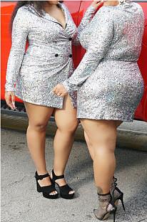 Fashion Night Club  Printing Cardigan Package Buttocks Dress K8945