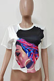 Pure Color Printing Short Sleeves Fashion Blouse LD8309