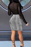 Net Yarn Gilding Spliced Glisten Sexy Perspective Cultivate One's Morality Club Mini Dress WMZ2609