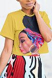 ピュアカラープリント半袖ファッションブラウスLD8309
