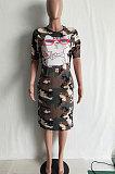 Robe mi-longue imprimé tresse camouflage manches courtes LD8181