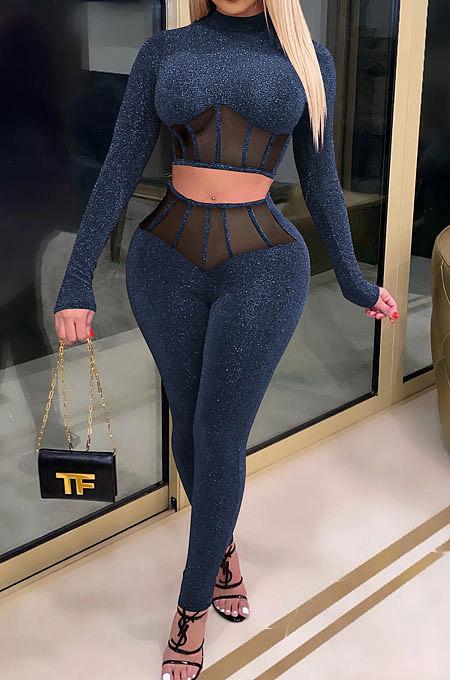 Fil net de vêtements pour femmes épissé évider la mode scintillante sexy cultiver la moralité en deux pièces