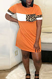 Womenswear Spliced Leopard Short Sleeves Loose Mini Dress LD8847