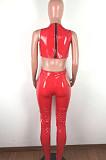 Cross Vest Stretch Plush PU Jumpsuit QZ4546