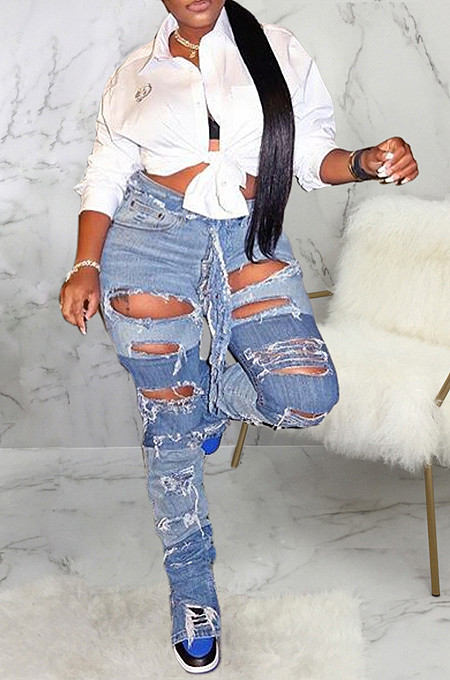 Fashionable Multi-Color Broken Hole Slimming Non-Elastic Straight Pants SMR2331