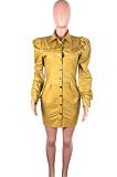 ファッションラペルバブルスリーブシングルブレストPUレザーショートコートドレスQZ3312