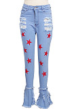 Fashion Classic Pentacle Print Flounce Torn Jeans SMR2390