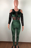 Sexy Net Yarn Joining Together Pleuche Long Slevee Jumpsuits QZ5257