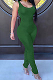 Pure Color Ruffle Sexy Sling  Bodycon Jumpsuits WMZ2588