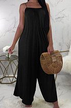 Pure Color Loose Sling Casual Jumpsuit LD8091