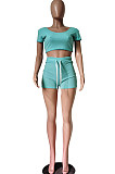 Pure Color Rid Short Slevee Shorts Movement Two-Piece TRS1101