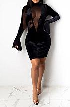 مثير صافي الغزل تقسم المخملية عالية الرقبة القرن طويل الأكمام مزاجه فستان قصير WMZ2623