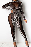 Pleuche Burnt Flower Net Yarn Spliced Perspective Leopard Cultivate One's Morality Long Sleeve Bodycon Jumpsuits WMZ2613