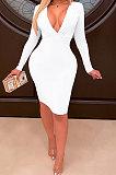 Womenswear Dress Deep V Ruffle Package Buttocks Club Mini Dress WMZ2612
