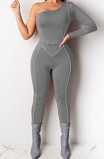 Long Sleeve Pure Color Sexy Mid Waist Bodycon Jumpsuits AMM8209