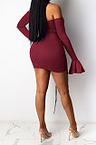 Sexy Fashion Womenswear Automne Hiver Draw String Backless Horn Sleeve Pure Color Mini Robe WMZ2610