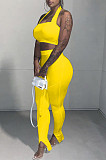 Pure Color Hang A Neck Wipes Bosom+Pencil Trousers With Slit Legs Two-Piece TRS1103