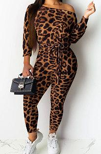 Темный Cofee, сексуальный женский повседневный комбинезон с длинным рукавом и леопардовым вырезом-лодочкой NYY6043